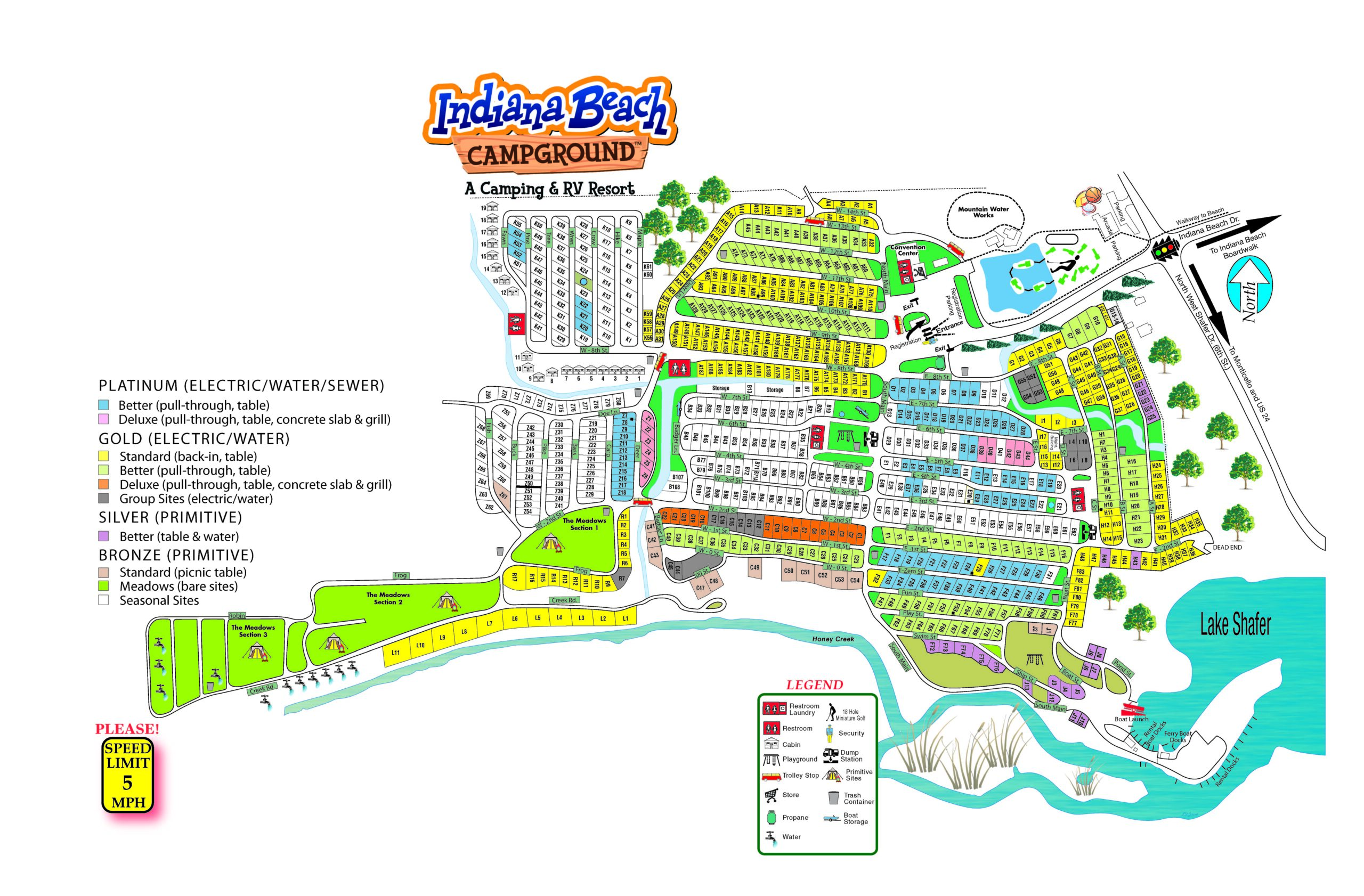 Indiana Beach campground map